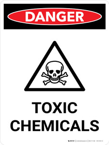 Danger: Toxic Chemicals Portrait with Graphic - Wall Sign