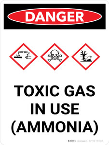 Danger: Toxic Gas Ammonia In Use Portrait with Graphic - Wall Sign