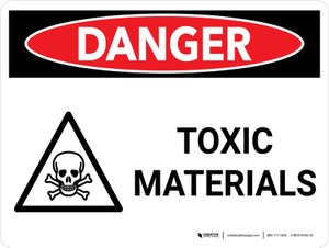 Danger: Toxic Materials Landscape with Graphic - Wall Sign