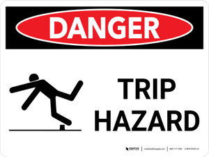 Danger: Trip Hazard Landscape with Graphic - Wall Sign