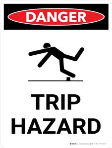 Danger: Trip Hazard Portrait with Graphic - Wall Sign
