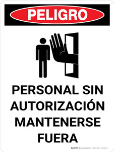 Danger: Unauthorized Personnel Keep Out Portrait with Icon - Wall Sign