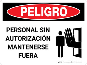 Danger: Unauthorized Personnel Keep Out Spanish Landscape with Icon - Wall Sign