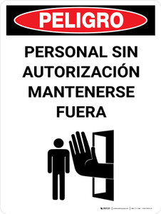 Danger: Unauthorized Personnel Keep Out Spanish Portrait with Icon - Wall Sign