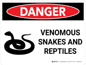 Danger: Venomous Snakes And Reptiles Landscape with Graphic - Wall Sign