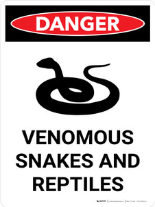 Danger: Venomous Snakes And Reptiles Portrait with Graphic - Wall Sign
