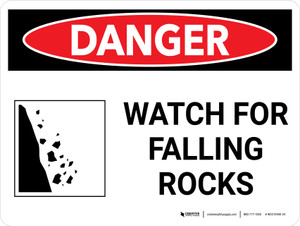 Danger: Watch for Falling Rocks Landscape with Graphic - Wall Sign