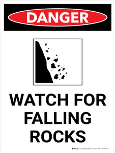 Danger: Watch for Falling Rocks Portrait with Graphic - Wall Sign