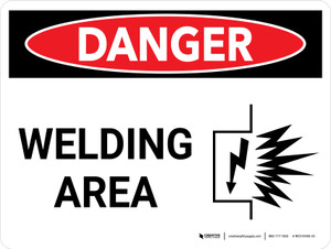Danger: Welding Area Landscape with Graphic - Wall Sign