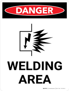 Danger: Welding Area Portrait with Graphic - Wall Sign