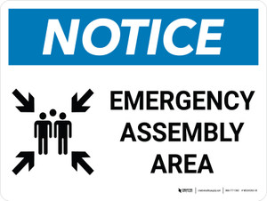 Notice: Emergency Assembly Area Landscape with Graphic
