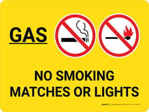 Gas No Smoking Matches Or Lights Landscape with Graphic - Wall Sign