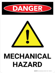 Danger: Mechanical Hazard Portrait with Graphic - Wall Sign