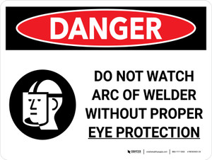 Danger: PPE Do Not Watch Arc Wear Proper Eye Protection Landscape with Graphic - Wall Sign