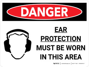 Danger: PPE Ear Protection Must Worn In Area Landscape with Graphic - Wall Sign