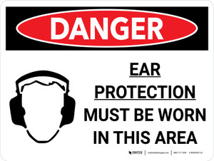 Danger: PPE Ear Protection Required In Area Landscape with Graphic - Wall Sign