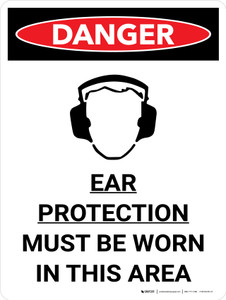Danger: PPE Ear Protection Required In Area Portrait with Graphic - Wall Sign