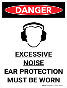Danger: PPE Excessive Noise Ear Protection Portrait with Graphic - Wall Sign
