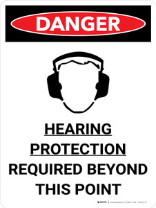 Danger: PPE Hearing Protection Required Beyond This Point Portrait with Graphic - Wall Sign