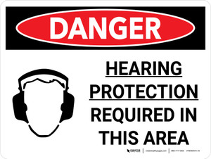 Danger: PPE Hearing Protection Required in This Area Landscape with Graphic - Wall Sign