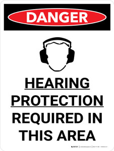 Danger: PPE Hearing Protection Required in This Area Portrait with Graphic - Wall Sign