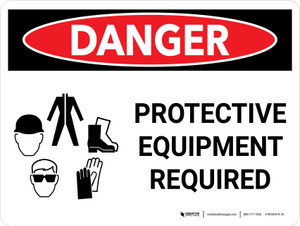 Danger: PPE Protective Equipment Required Landscape with Graphic - Wall Sign