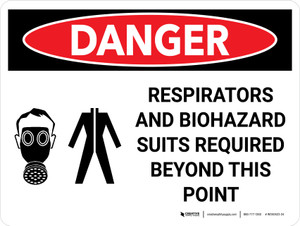 Danger: PPE Respirators And Biohazard Suits Required Landscape with Graphic - Wall Sign