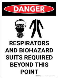 Danger: PPE Respirators And Biohazard Suits Required Portrait with Graphic - Wall Sign