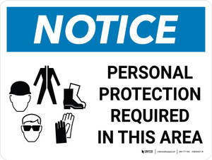 Notice: Personal Protection Required In This Area Landscape with Graphic