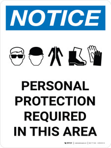 Notice: Personal Protection Required In This Area Portrait with Graphic
