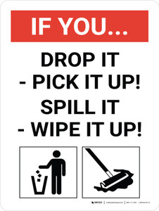 If You Drop It/Spill It - Clean It Portrait with Graphic - Wall Sign