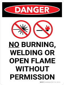 Danger: No Burning Welding Or Open Flame Portrait with Graphic - Wall Sign