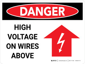 Danger: High Voltage On Wires Above Landscape with Graphic - Wall Sign