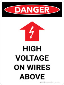 Danger: High Voltage On Wires Above Portrait with Graphic - Wall Sign