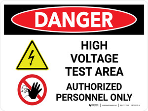 Danger: High Voltage Test Area Landscape with Graphic - Wall Sign