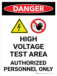 Danger: High Voltage Test Area Portrait with Graphic - Wall Sign