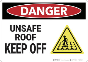 Danger: Unsafe Roof Keep Off - Wall Sign
