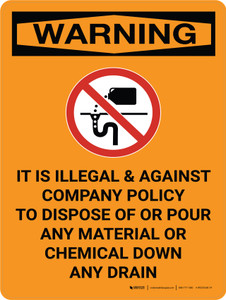 Warning: Illegal to Dispose or Pour Material or Chemical Down Drain Portrait With Graphic - Wall Sign