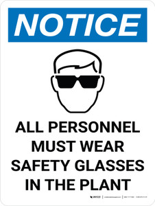 Notice: All Personnel Must Wear Safety Glasses in the Plant Portrait with Graphic