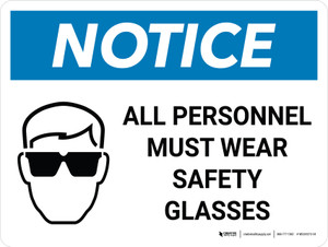 Notice: All Personnel Must Wear Safety Glasses Landscape with Graphic