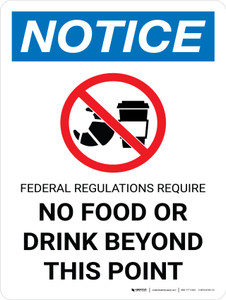 Notice: Federal Regulations Require No Food Drink Beyond This Point Portrait with Graphic