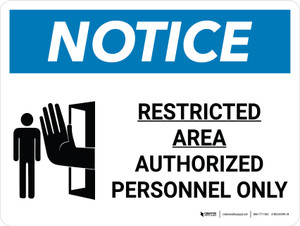 Notice: Restricted Area Authorized Personnel Only Landscape with Graphic