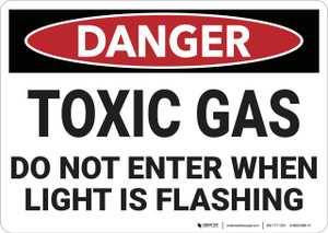 Danger: Toxic Gas Do Not Enter When Light Flashes - Wall Sign