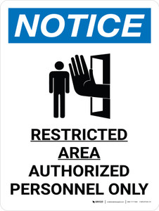 Notice: Restricted Area Authorized Personnel Only Portrait with Graphic