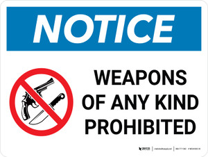 Notice: Weapons Of Any Kind Prohibited Landscape with Graphic - Wall Sign