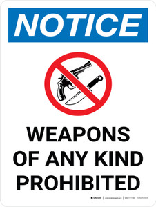Notice: Weapons Of Any Kind Prohibited Portrait with Graphic - Wall Sign