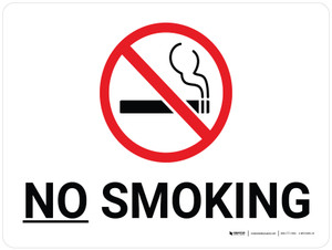 No Smoking White Landscape with Icon - Wall Sign