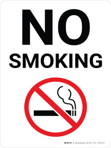 No Smoking White Portrait with Graphic - Wall Sign