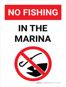 No Fishing In The Marina Portrait with Graphic - Wall Sign