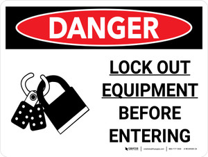 Danger: Lock Out Equipment Before Entering Landscape with Graphic - Wall Sign